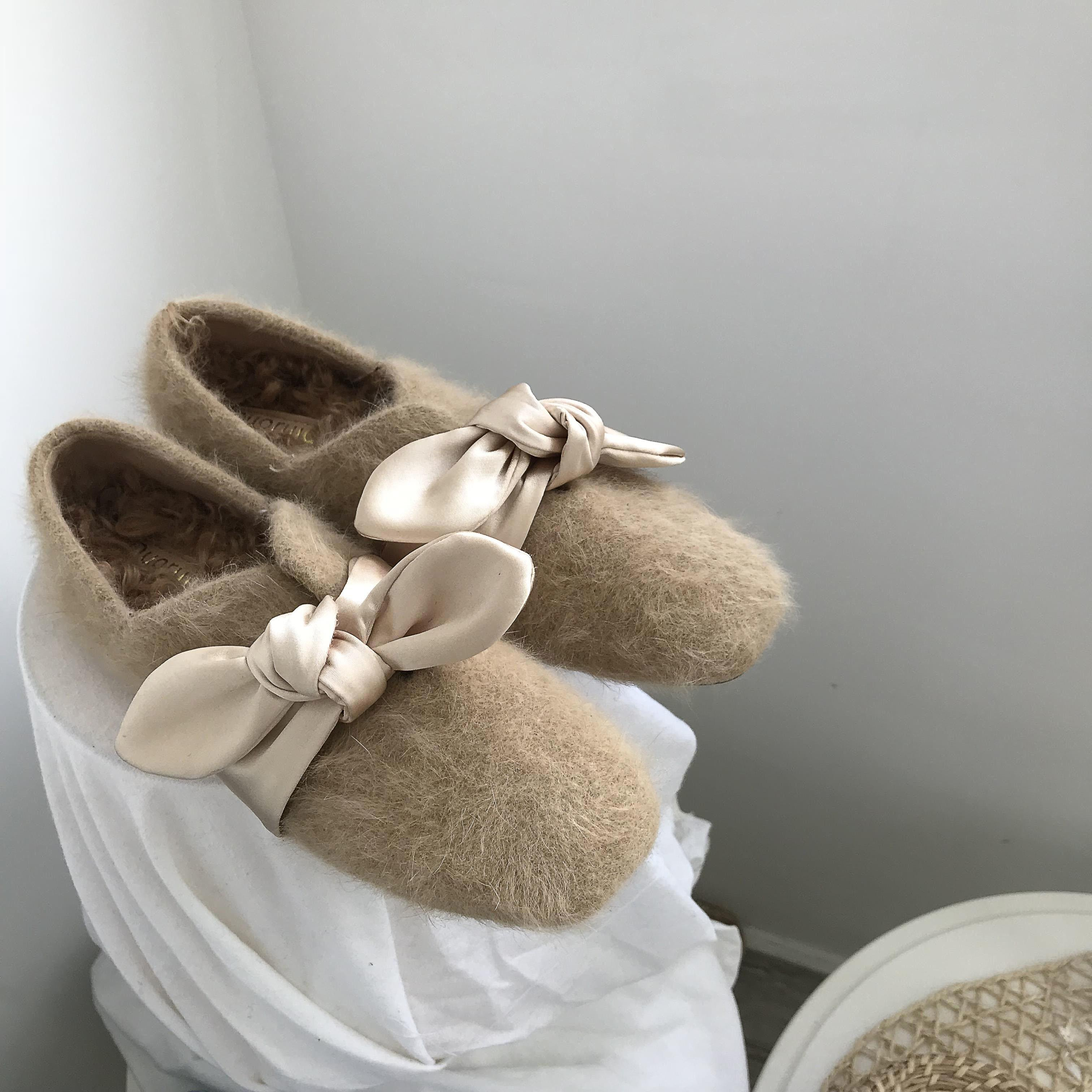 Gorgeous2019 In Shallow Mouth Baby Square Increase Cashmere Sheep Curly Hair Pad Silk Bring Bow Flat Bottom Grandma Shoe