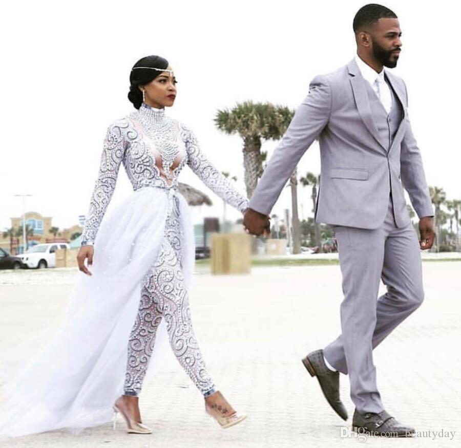 Light Grey Groom Tuxedos Wedding Suits Groomsmen Best Man For Young Man Prom Coupple Day Suits (Jacket+Pants+Vest) Custom made Plus size K1
