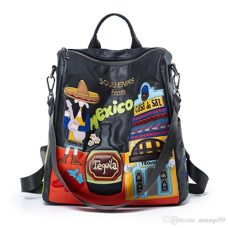 Pelle ricamo delle donne zaino di gusto squisito di scuola della borsa da viaggio Totes Braccialini Style Design Arte del fumetto di trasporto del Messico