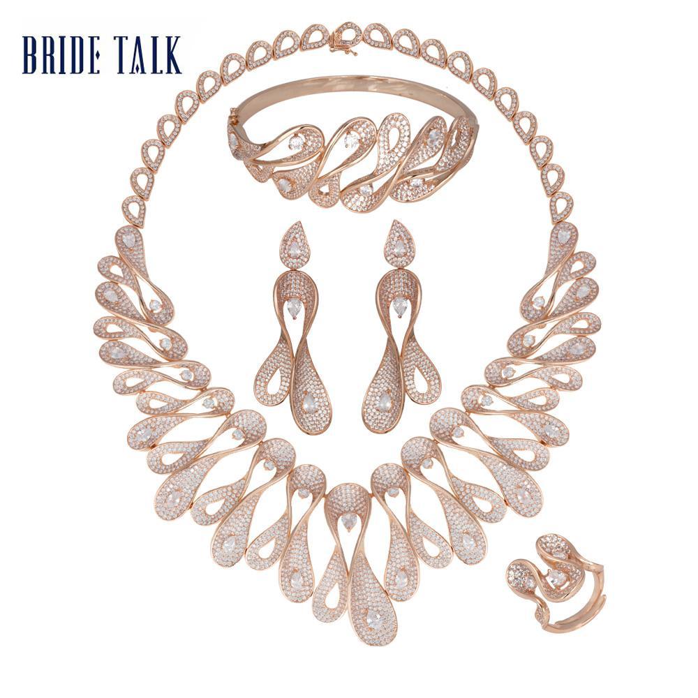 Moda Rose Bride Discussão original do ouro completa Zirconia Colar Brinco Define Jóias Dubai Zircon nupcial Ouro ajustado Acessórios 2019