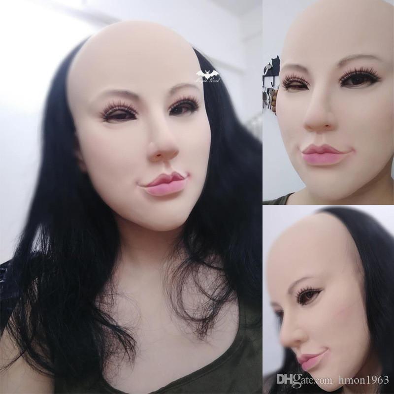 Neue heißen Verkaufs-Realistic Menschliche Haut Verkleidung Selbst Masken Halloween Latex realista Maske Silikon elastischen Crossdress weiblichen echten Maske Sonnenschutz