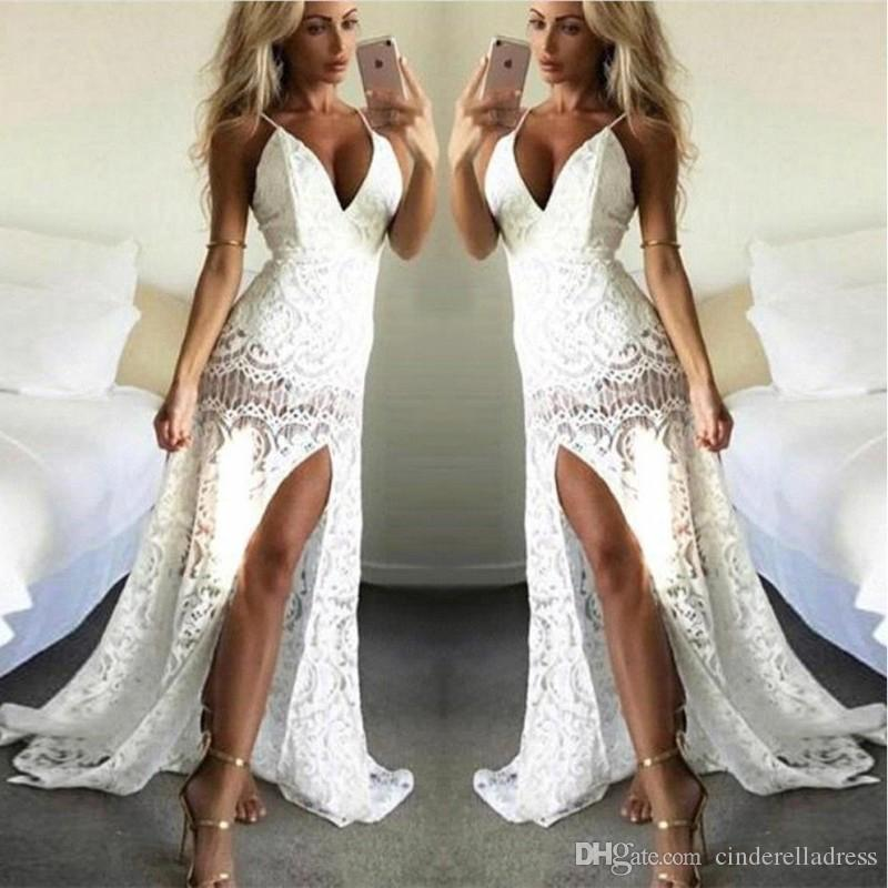 2020 Beach Lace Split Side Prom Dresses Spaghetti Straps Mermaid Long Sleeveless Bridal Party Gowns Plus Size Evening Dress BC2316