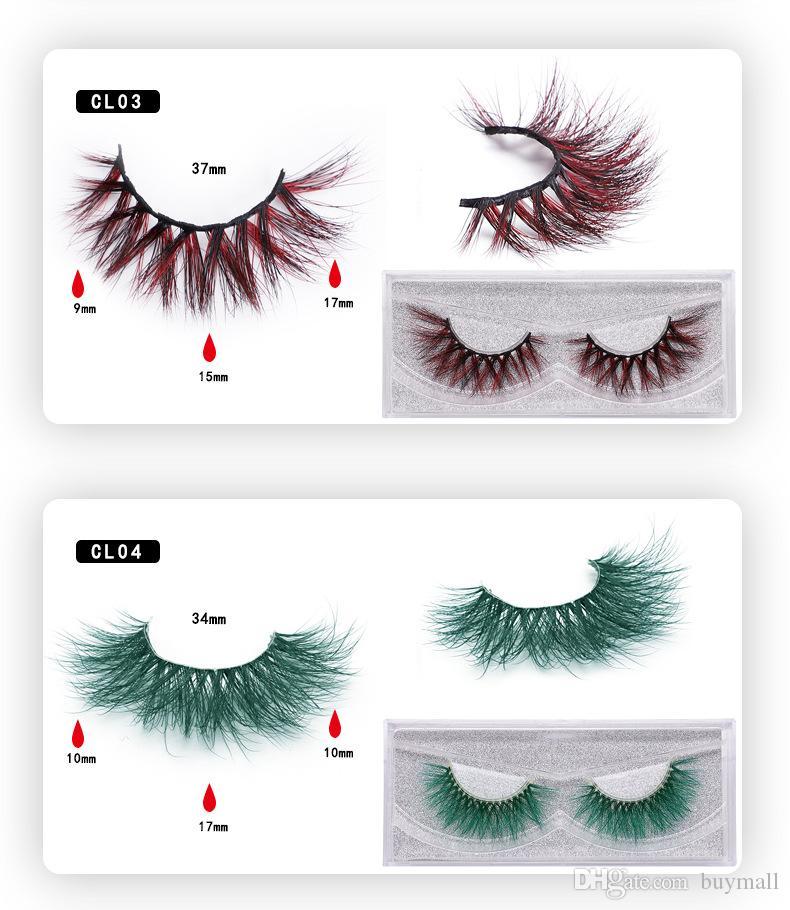 Plus récent coloré Mink cils faits à la main vison cheveux réutilisables 3D faux cils cheveux longs poils de vison premium naturel cils extensions