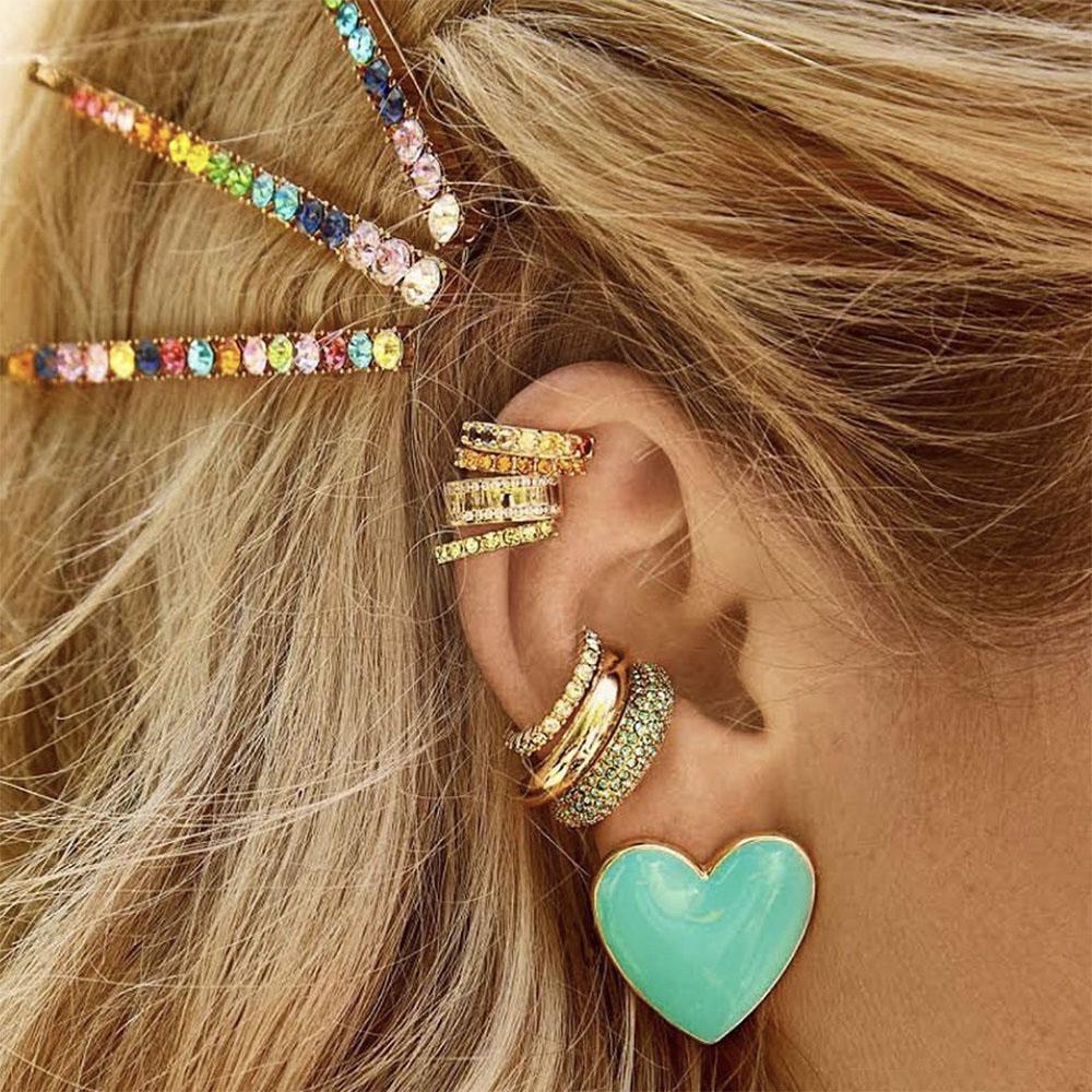 Jujia Moda orecchini a cerchio Set HUGGIES di cristallo dell'orecchio dei monili polsini non forato orecchio Arcobaleno CZ pietra