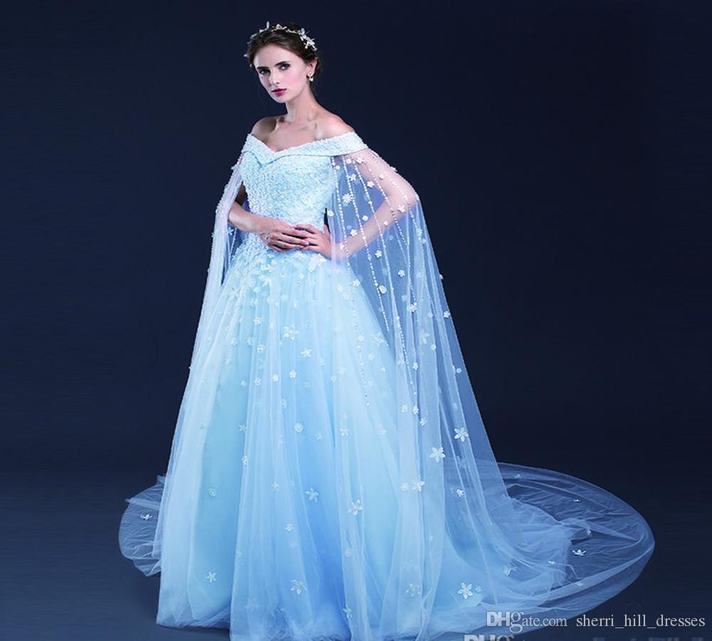 Небесно-голубой линия Свадебные платья Цветочные кружева аппликация Узелок Tull с плеча Свадебные платья сшитое Свадебные платья DH4154
