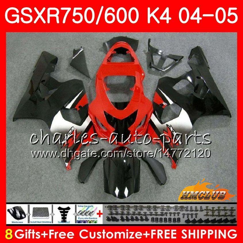 Kit voorraad Red BLK voor Suzuki GSX R600 R750 GSXR600 GSX-R750 GSXR 600 750 04 05 7HC.19 GSXR-750 GSXR750 K4 GSXR-600 04 05 2004 2005 Kuip