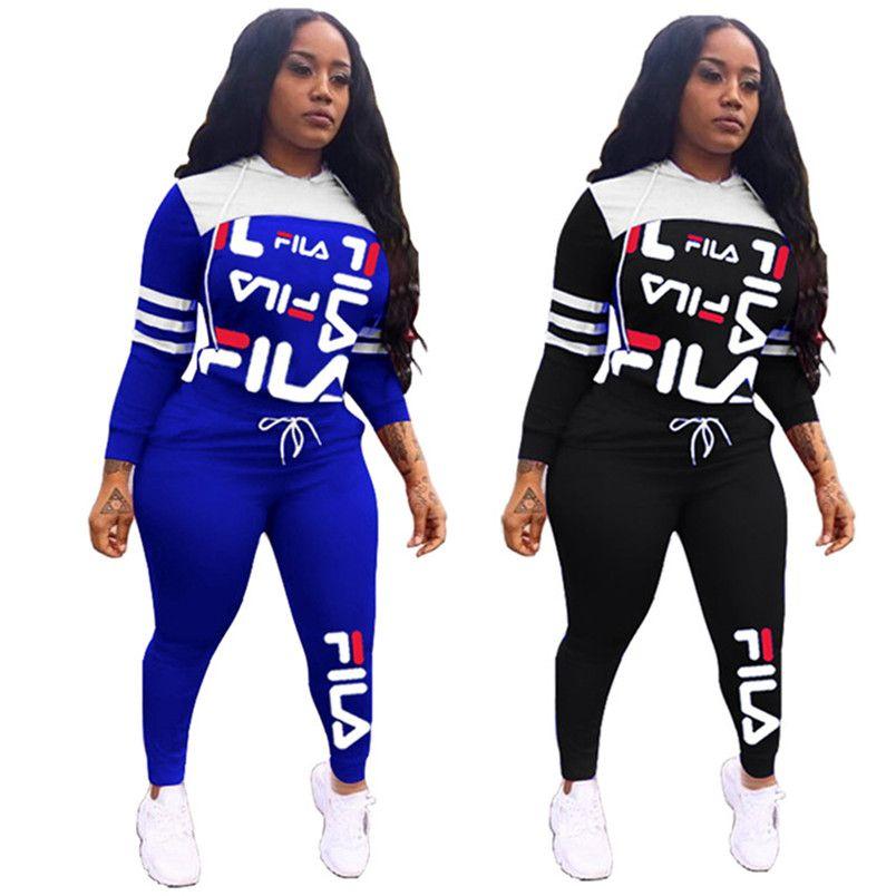 Frauen Marke 2-teiliges Set Trainingsanzug Herbst Winter lässige Kleidung mit Kapuze Klage Hosen Pullover Shirts sweatsuit Capris Outfits Jogger Anzug 2415