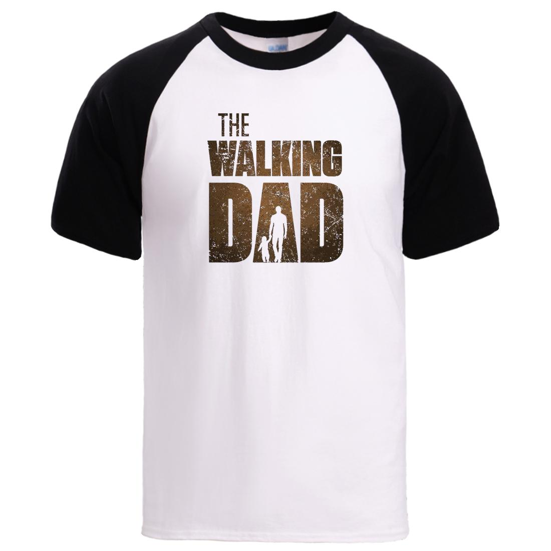 The Walking Dad Father Day Gift Tee Mens Summer Short Sleeve T shirts 2020 Man Hot Sell Soft 100% Cotton Sportswear T shirts Top