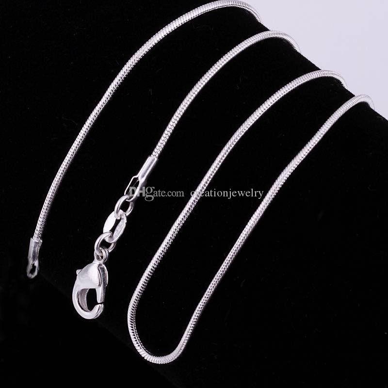 Toptan 1mm yılan zincirleri gümüş kaplama üç boyutları 16 inç 18 inç 20 inç kaliteli inci kafesleri kolye kolye zincirleri