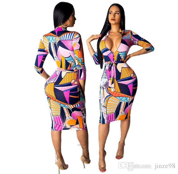 Cross-border 2019 new style contrast color European and American women's print dress nightclub skirt with belt support wholesale
