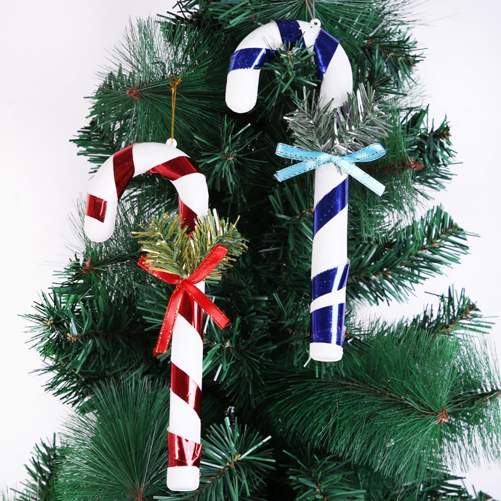 4pcs Noël en plastique Pendentif Décoration de Noël Le Panier Canne Béquille Hanging Pendentif Arbre Décoration de Noël Décoration d'intérieur