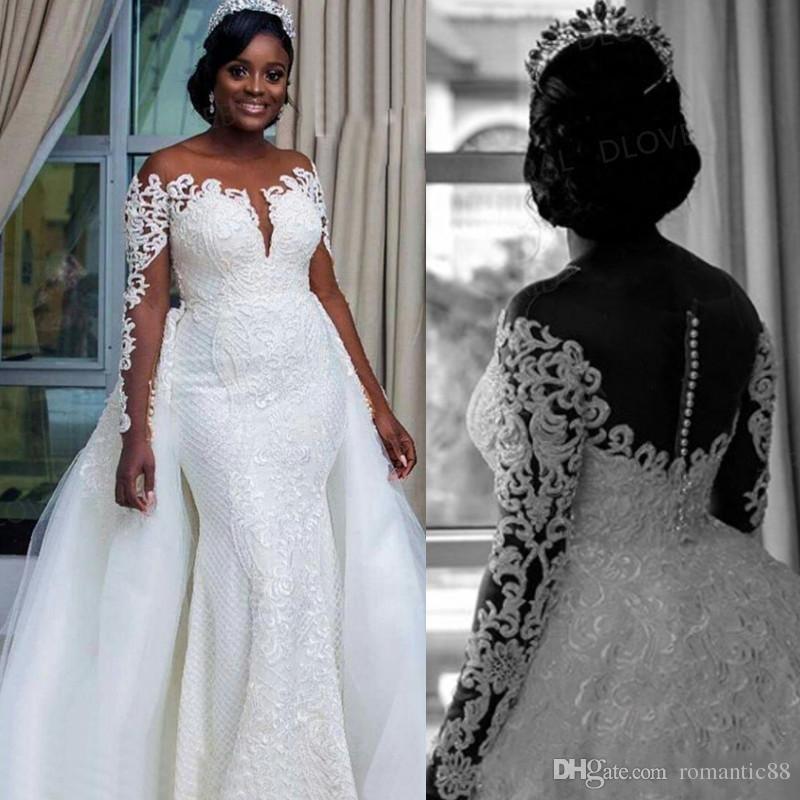 2019 최신 플러스 크기 분리 가능한 기차를 가진 아프리카 인어 결혼 예복 얇은 쥬얼 넥 라인 긴 소매 나이지리아 인 레이스 신부 가운