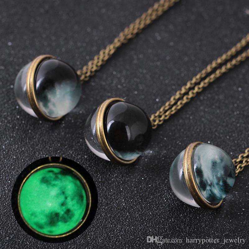 Double Side Glow in the Dark Universe Moon Necklace Fluorescence Gemstone Glass Cabochon Necklace Fashion Will and Sandy DROP SHIP 162672