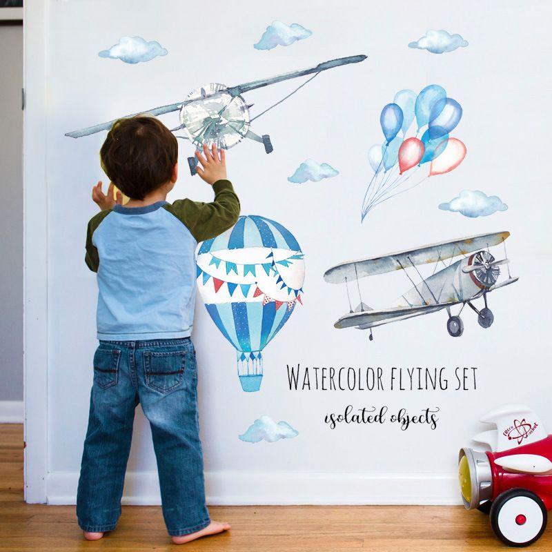 수채화 비행기 열기구 벽 스티커 아이 베이비 룸 홈 장식 PVC 벽화 데칼 보육 스티커 벽지