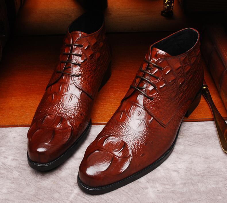 Big Size 39-46 Crocodile Grain schwarz / braun formale Hochzeit Schuhe Herren Stiefeletten Herren Arbeitsschuhe Geschäfts