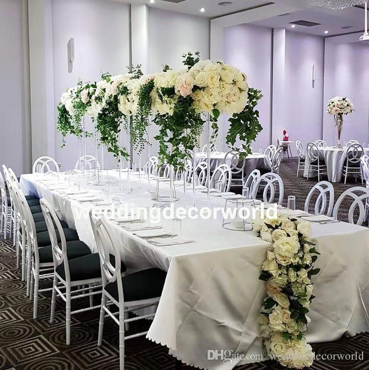 Pièces maîtresses en acrylique pour Événements de mariage Décoration Soie Rose Pétales Table Fleurs Artificielles Fiançailles Fête Fête Fournitures decor333