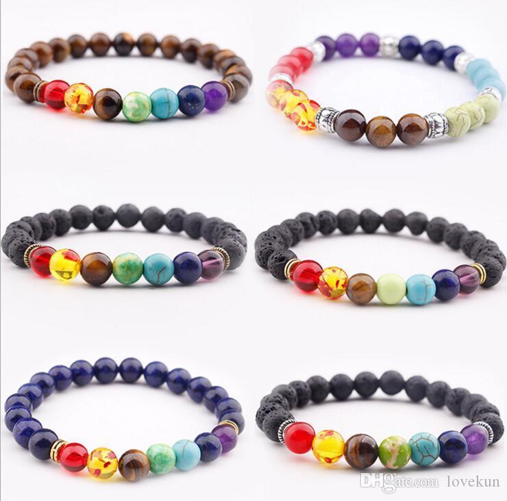 Joyería con cuentas pulseras de la manera caliente natural encanto de piedra turquesa pulsera punky de los brazaletes 8 Color de piedra puños
