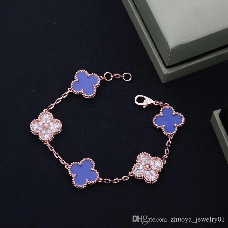 فاخر مصمم مجوهرات للنساء أساور 5 زهرة أساور سلسلة سوار سوار الذهب الماس قذيفة مصمم هدية عيد ميلاد