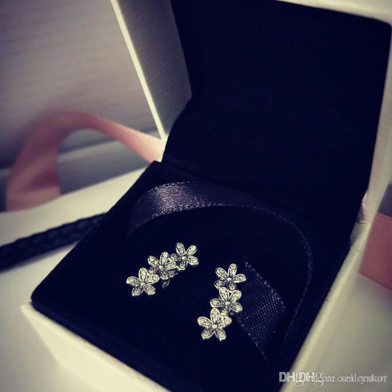 NUEVO 925 plata esterlina CZ Diamante flores PENDIENTE Original caja Set para Pandora 925 Pendientes de nieve Mujeres Niñas Regalo Joyería