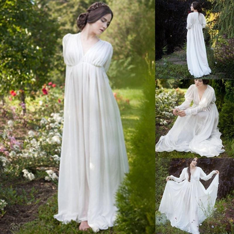 Frauen Casual Kleid Solid Color Langarm-V-Ausschnitt von High Waist Damen Party Kleidung