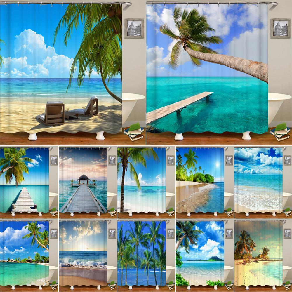 عالية الجودة شاطئ مشمس أقمشة مطبوعة دش البحر الستائر مشهد حمام شاشة منتجات مضادة للماء ديكور الحمام مع 12 خطاف