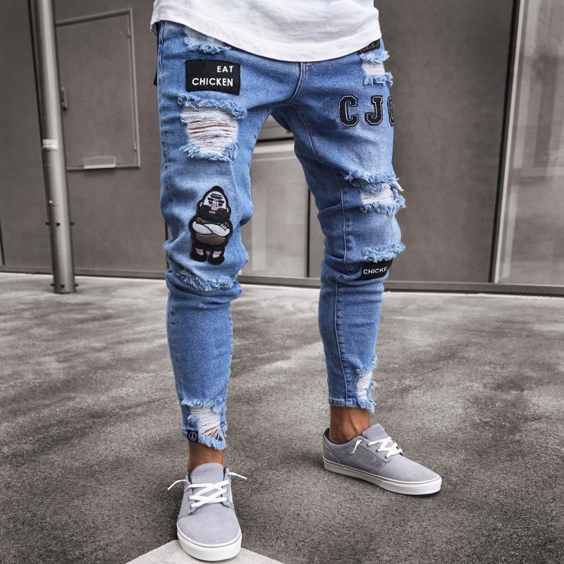 أزياء رجالي جين الشارع الشهير ثقب مصمم جينز الأبيض الهيب هوب سكيت قلم رصاص سروال زرقاء الحجم S-3XL