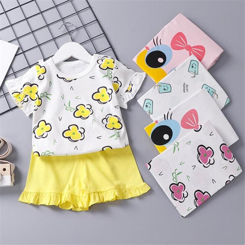 Новорожденных младенцев Мальчики Девочки Одежда Набор хлопка летние девочки футболка + шорты Casual Детская одежда Костюм для новорожденных тенниска