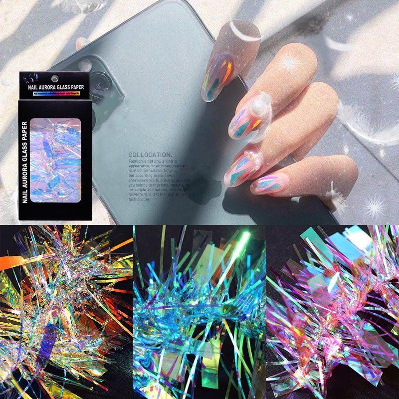 Красочный ногтей Аврора стекла бумаги наклейки ногтей наклейки DIY Nail Art Decoration Нерегулярное Разбитое зеркало Гвозди Art Foil Декаль Инструменты F0096
