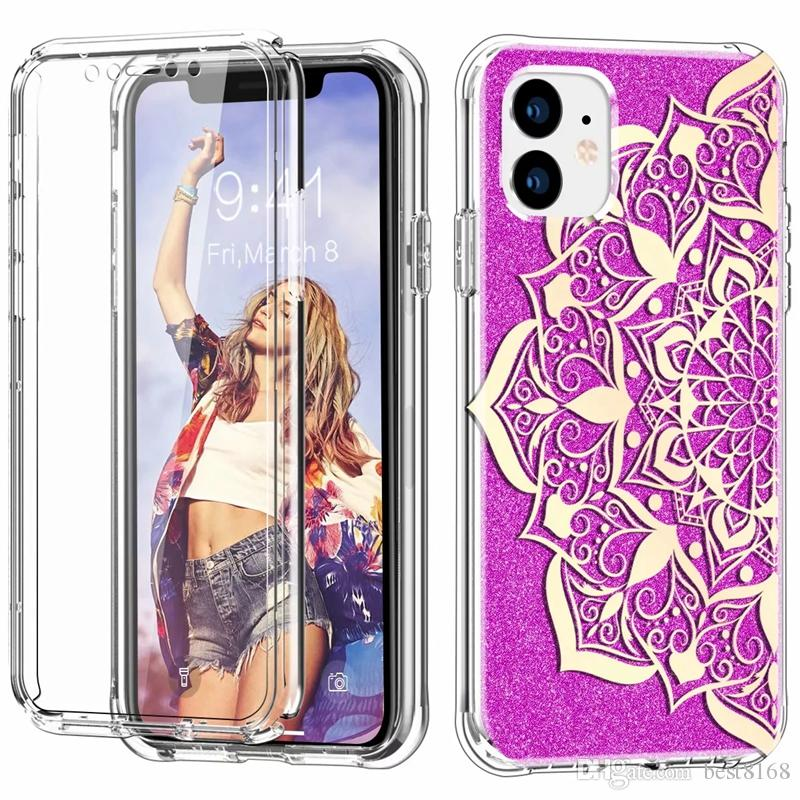Lace Flower Mandala Case For Iphone 11 Pro Max 2in1 360 Shockproof PC +IMD TPU +PET Screen Protector Full Crystal Double-sided Datura Covers