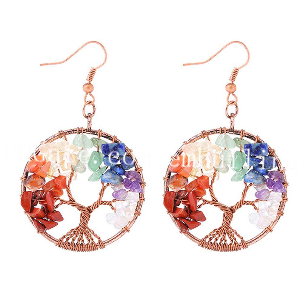 10Pair Tree of Life Earrings Rainbow Gemstone Copper Wire Tree Earrings Multi Colored Beaded 7 Chakra Reiki Dangle Earrings Mothers Day Gift