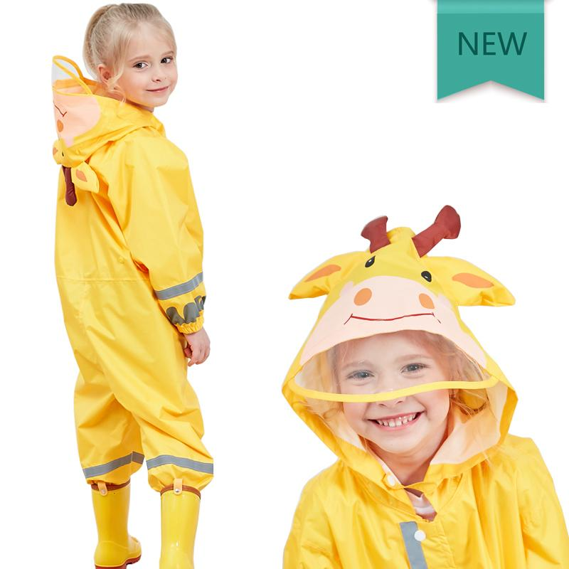Kocotree Children Yellow Giraffe Raincoat Kids Jumpsuit Rainwear Raincover For Baby Boy Girl Waterproof Clothing Sets Kids