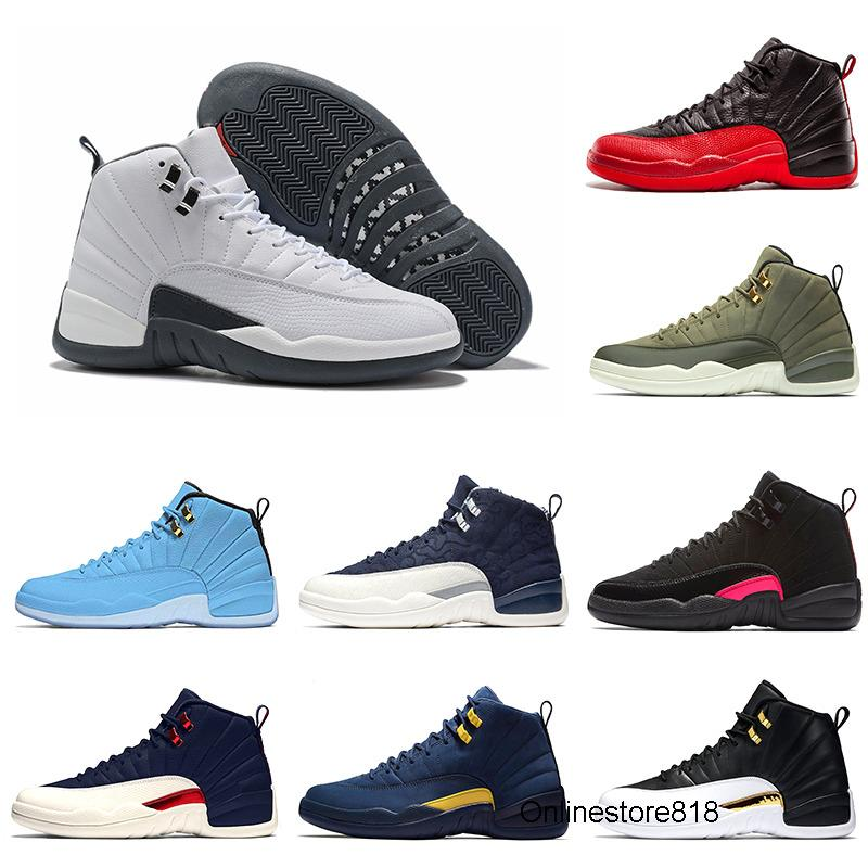 Drop Verschiffen Spiel Royal Gym Red 12 XII 12s Mensbasketballschuhe FIBA ​​Michigan TAXI Flu Spiel Männer Dunkelgrau athletischen Sports Turnschuhe