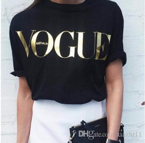Модные футболки для женщин футболка золото VOGUE письмо женщины с коротким рукавом с круглым вырезом графические футболки Повседневные женские топы 2017 Новый NV08 RF