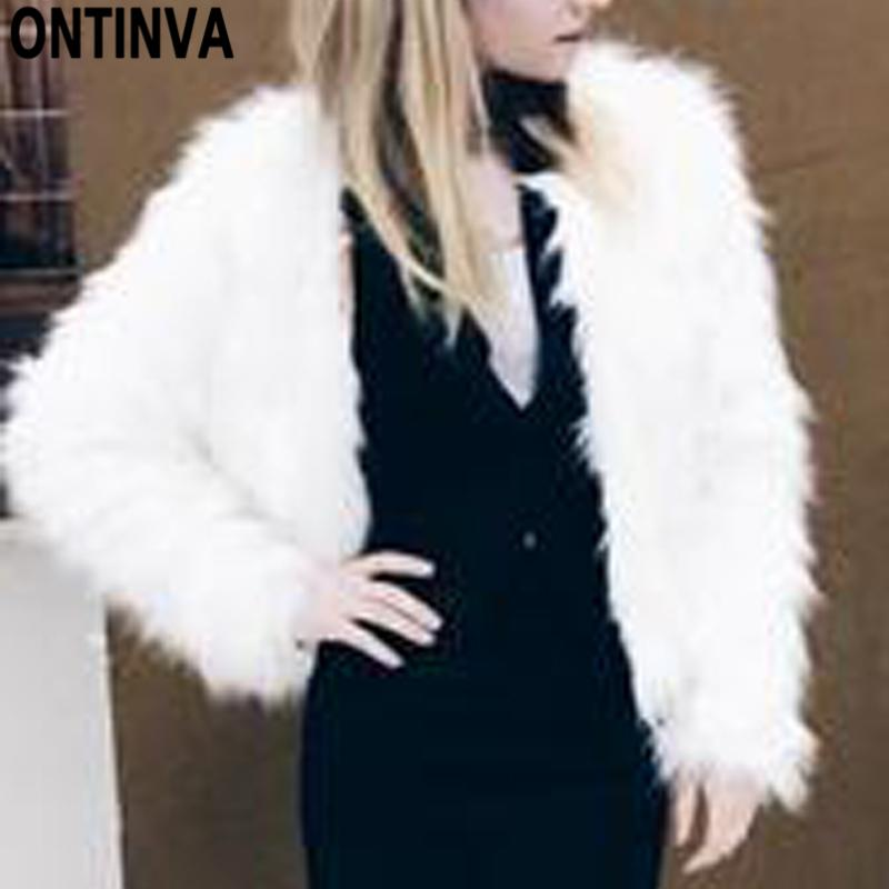 2020 Pink Furry Fur Coat For Women White Fluffy Warm Lady Long Sleeve Female Outerwear Autumn Winter Coat Jacket Collarless Overcoat From Vikey18,