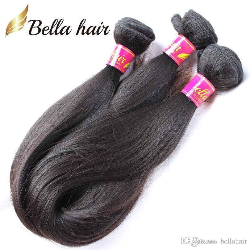 "Bellahair Indian Remy Hair Weave Virgin Menselijk Haar Weave Inslag Natural Color Rechte 8 ""-30"" 1pc Hair Extensions Double Inslag DHL"