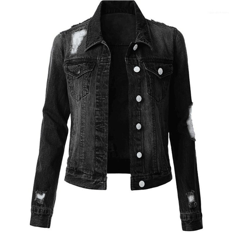 Kleidung Solid Color Womens Designer Denim Jacken Mode dünne Weinlese zerrissener Frauen Denim-Jacken beiläufige Frauen