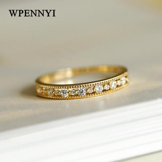 2020 Yellow Gold Color Hollow Out Lace Disign Width 3mm Zirconia