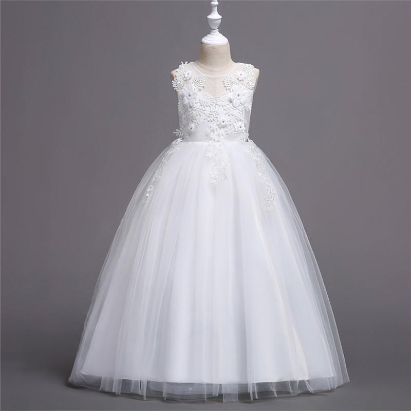 Sheer-Ausschnitt Blumenmädchenkleider mit Blumen-Mädchen-Festzug-Kleid Geburtstag
