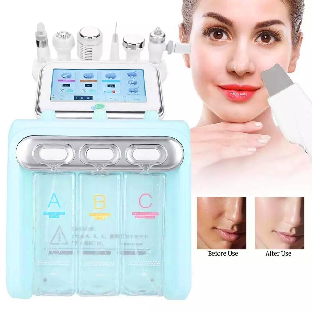 Nueva piel 6en1 H2 O2 Hydra Peel RF Bio Spa elevación máquina de hidroterapia cara de microcristales agua moler la cara del cuidado pulverizador martillo frío de oxígeno