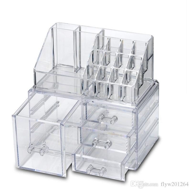 Acrylic Makeup Storage Case Nail Polish Rack Cosmetic Storage box Lipstick Holder Makeup Brush Organizer 7 styles