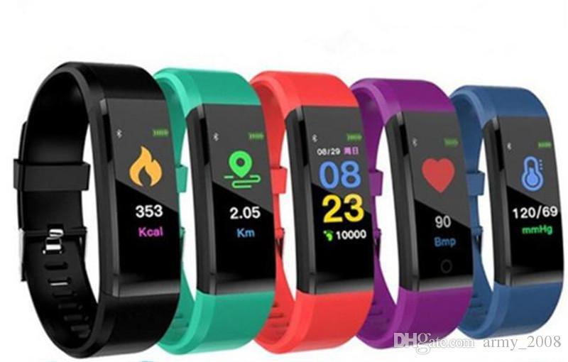 ID115 Plus Pulsera inteligente Rastreador de ejercicios Reloj inteligente Pulsera inteligente de ritmo cardíaco Pulsera inteligente para teléfonos celulares Apple Android