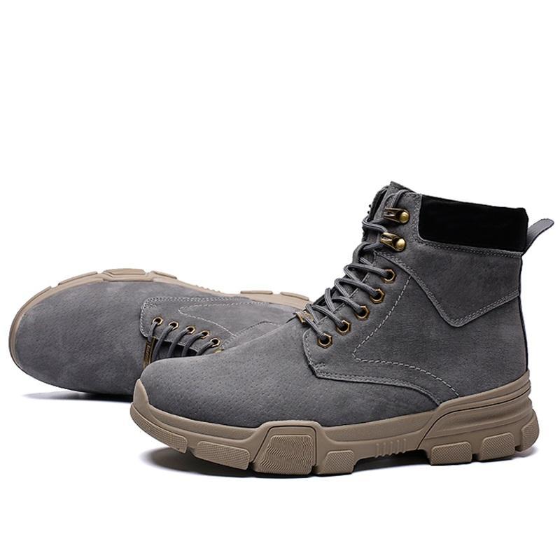 Bottes Automne Hiver hommes Mode vache Suede Bottines pour hommes Chaussures Survêtement Unisex neige Bottes de travail en plein air Chaussures Plus Size 35-44