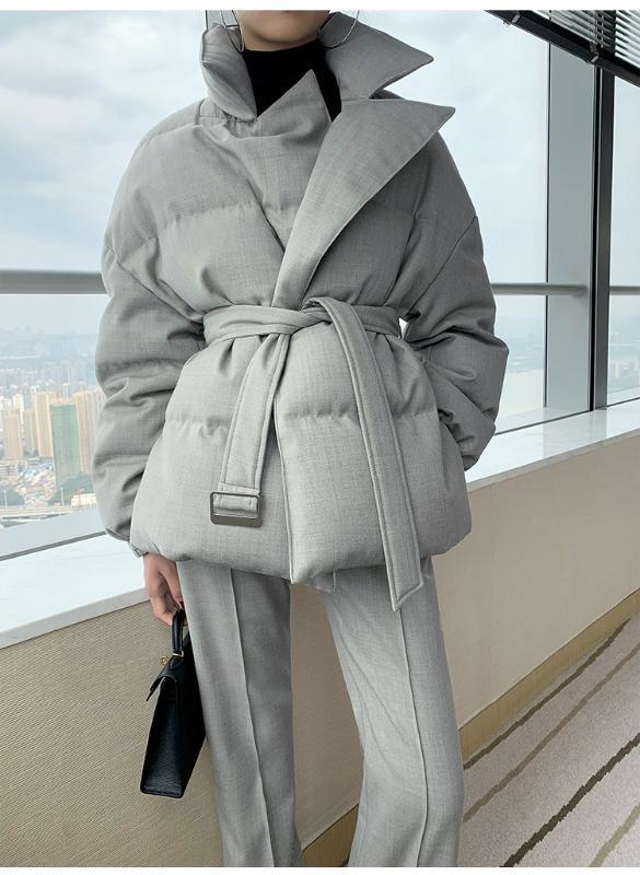 دعوى تصميم طوق أسفل المعاطف الشتوية ورقيقة بطة الدافئة أسفل معطف الإناث دافئ سترات ستر سميكة مع F957 حزام