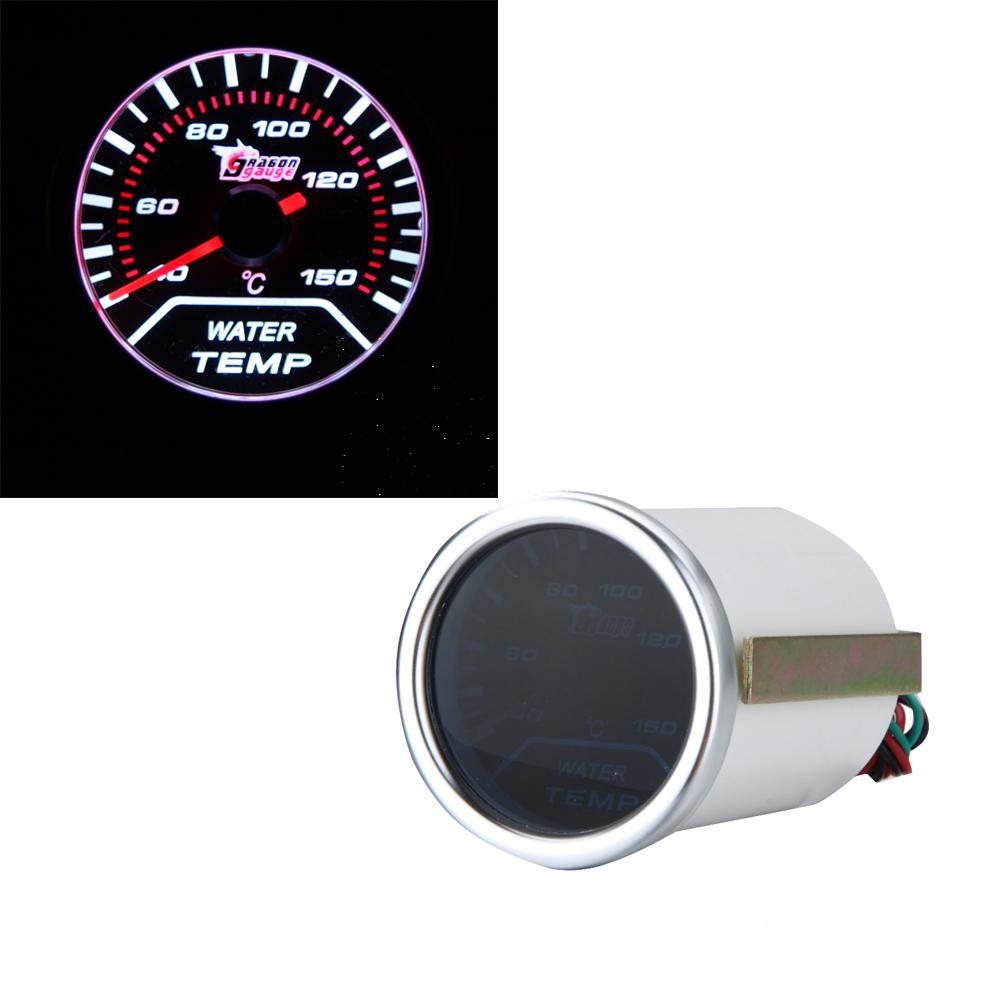 "Freeshipping New Standard 2"" 52mm White LED Display Water Temp Gauge Car Autometer Water Temperature Meter Sensor"