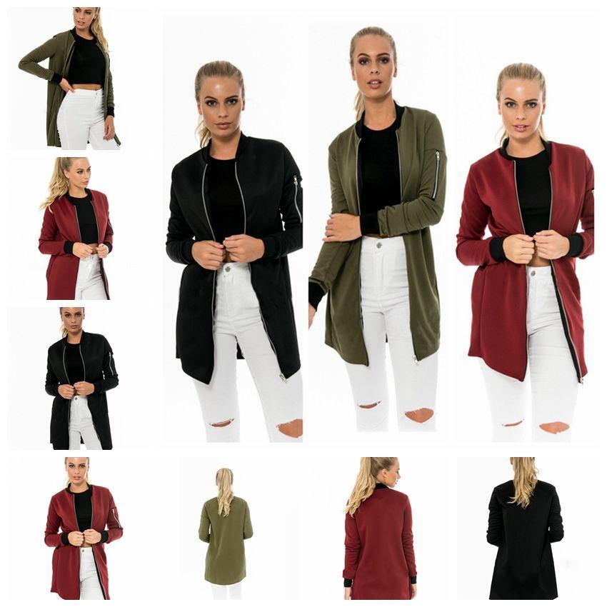 유럽 패션 간단한 컬러 카디건 지퍼 긴 소매 긴 섹션 간단한 재킷. S ~ 2XL은 혼합 배치를 지원합니다