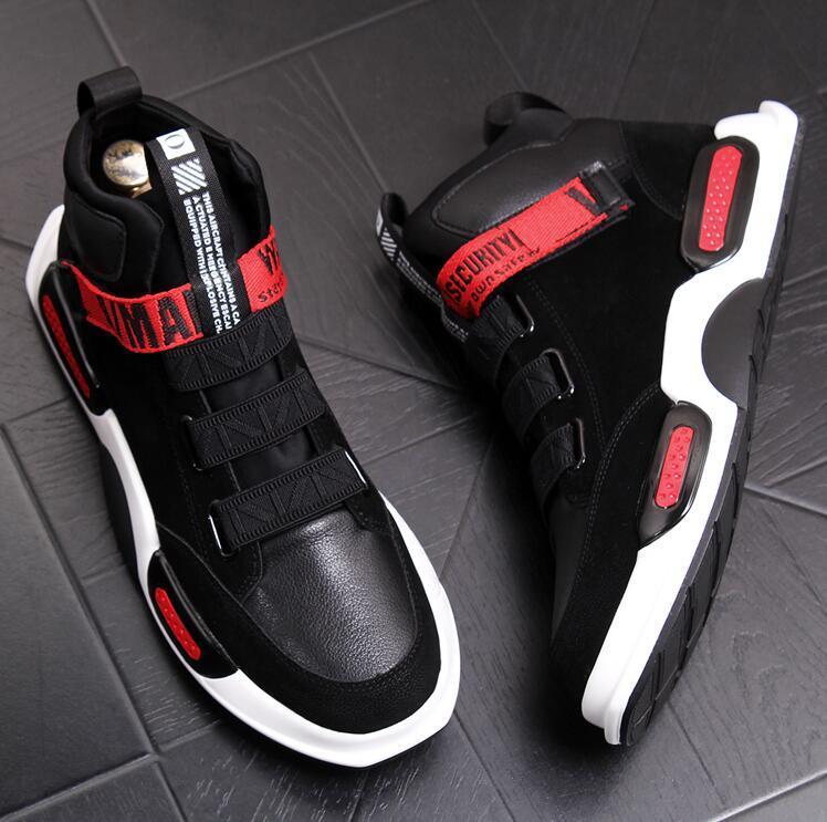 zapatillas de deporte de moda para los hombres zapatos gruesos de tablero inferior del punk planos ocasionales de los hombres de los zapatos para correr Prom