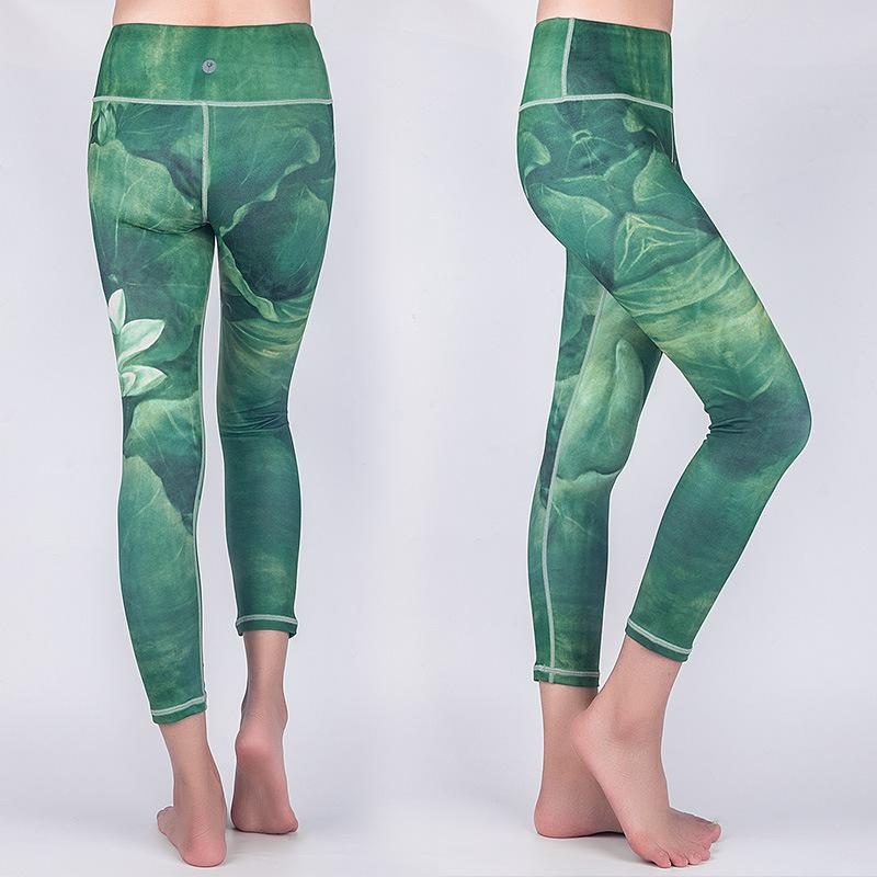 Princess four-pin six-line printed yoga pants breathable quick-drying tight-fitting sports female fitness dance trousers