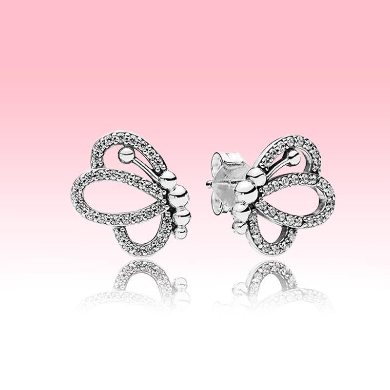 Pendientes NUEVO espumoso cielo abierto de la mariposa de la manera de las mujeres de la joyería de Pandora Set de pendientes de plata de ley 925 con la caja original