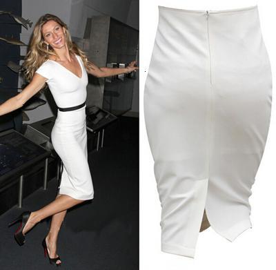 Women Skirts White Skirt Women High Waist White Pencil Wrap Skirt Plus Size Split Skirts Knee Length Ol Work Wear Jupe Taille