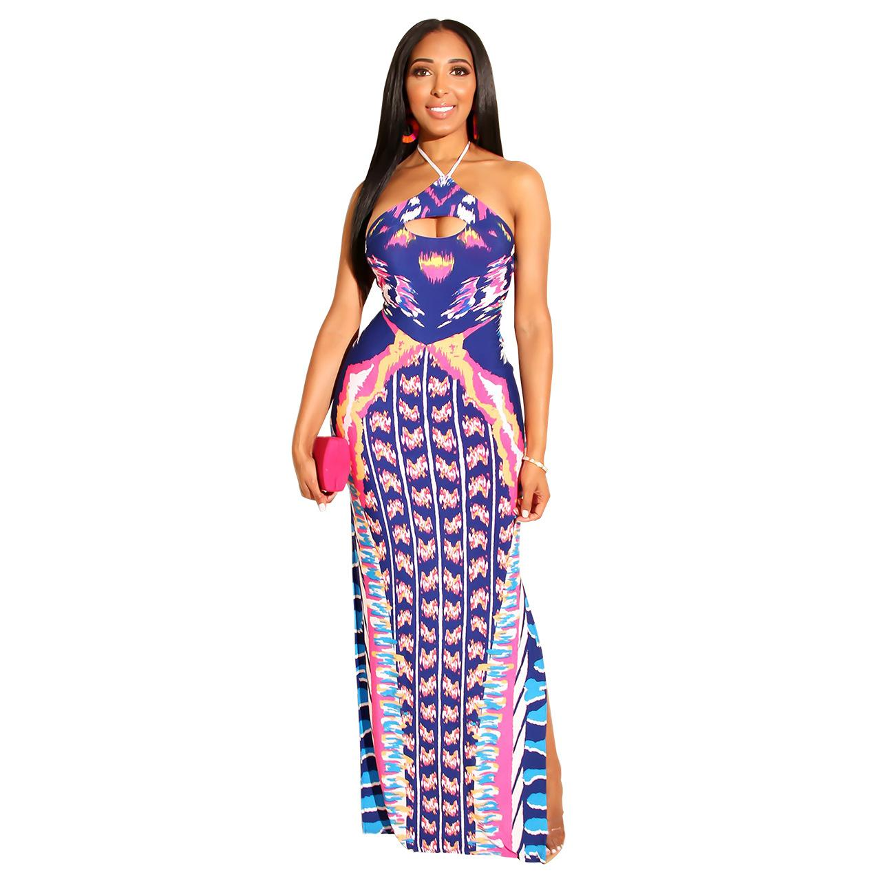 2019 Sexy Comfortable Print Nightclubs for Ladies In Europe and The United States Ripped One-step Dress #Q230